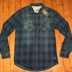 NWT Triple Five Soul Denim Plaid Button Down Shirt